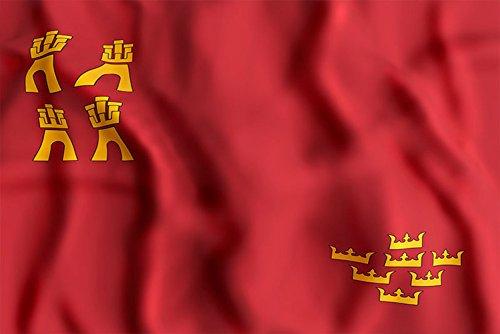 Oedim Bandera de La Comunidad de Murcia 85x150cm | Reforzada y con Pespuntes| Bandera de La Comunidad de Murcia con 2 Ojales Metálicos