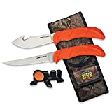 Outdoor Edge WildBone, 4-Piece Field to Freezer Hunting & Game Processing Knife Set with Gut-Hook Skinner, Boning/Fillet Knife, Carbine/Ceramic Sharpener and Mossy Oak Camo Belt Scabbard