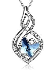 Fjärilspresenter 925 sterlingsilver oändlighetshalsband kristall fjäril födelsedagssmycken för kvinnor flickor
