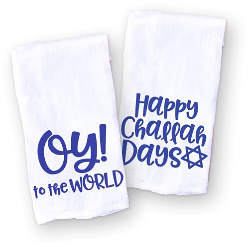 Funny Hanukkah Towels, Jewish Holidays Hostess Gift Set of 2, Oy to the World and Happy Challah Days
