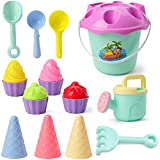 iefoah Ice Cream Beach Toys Cool Summer Vivid Color Ice Cream Sand Molds, Cake Sand Molds, Beach Bucket, Beach Shovel, Beach Rack,Watering Can for Kids & Todders (17 Pack)