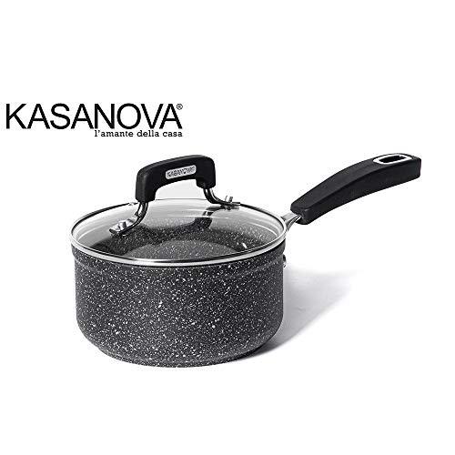 KASANOVA Casseruola New Petra Dark - Casseruola Antiaderente con Coperchio e Manico per Tutti i Piani Cottura - ø 16 cm
