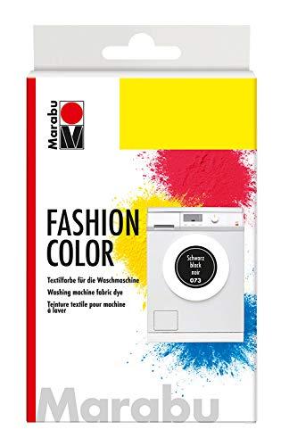Marabu 17400023073 - Fashion Color schwarz, Textilfarbe zum Färben in der Waschmaschine, kochecht, für Baumwolle, Leinen und Mischgewebe, 30 g Farbstoff und 60 g Reaktionsmittel