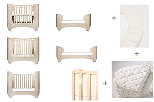 White Wash Leander - Lettino + 1 set (= 2 pezzi) lenzuolo con angoli elasticizzati per neonati + 1 coprimaterasso per neonati + paracolpi in vaniglia