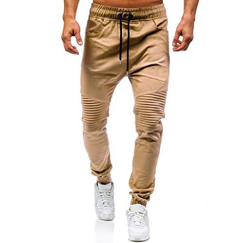 JiaMeng Pantalones de Trabajo Estilo Cargo para Hombre Pantalones Largos de pantalón de Trabajo Multibolsillos sólidos al Aire Libre Ocasionales para Exteriores Acampar Senderismo (M, A1~Caqui)