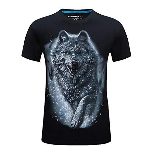 VPASS Camiseta para Hombre, Verano Manga Corta Hombre Unisex 3D Impreso Lobo Moda Diario Slim Fit Casual T-Shirt Blusas Camisas Camiseta Jaspeada de Cuello Redondo Suave básica Camiseta (Negroc, S)