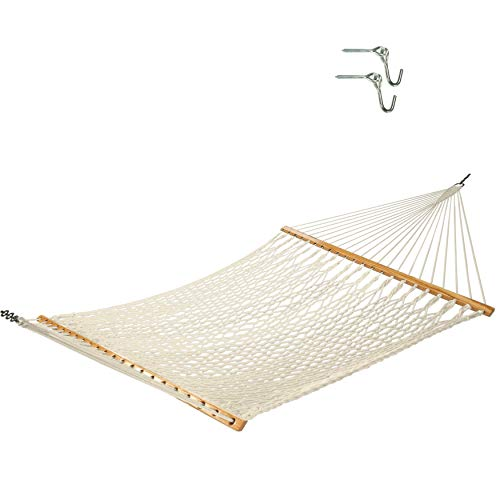 Castaway Hammocks 13 ft. Traditional Hand Woven Cotton Rope Hammock with Free Extension Chains &...