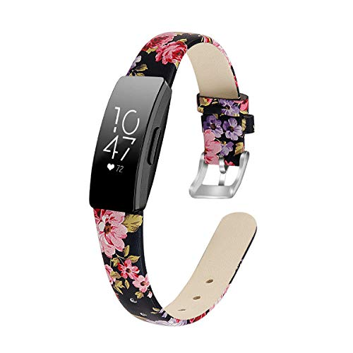 """MEFEO Compatible with Fitbit Inspire Bands/Inspire HR Band, Genuine Leather Slim Soft Strap Wristbands Accessories Replacement for Fitbit Inspire Fitness Tracker (Floral 1, Small (5.8""""-7.6""""))"""
