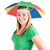 umbrella hat (pack of 2) - 20 inch, hands free, funny rainbow colorful beach party hats, adjustable