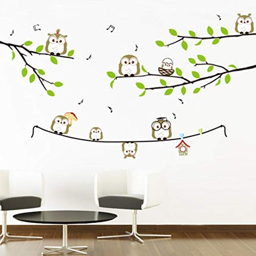 Muursticker uil partner cartoon kinderkamer slaapkamer tv-achtergrond muur decoratie sticker wanddecoratie kleuterschool
