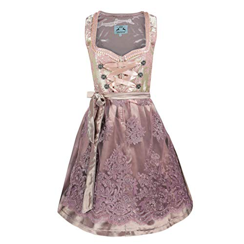 Alte Liebe Trachtenkleid 2tlg. Damen Dirndl Kleid 34,36,38,40,42,44,46, Rosa, 44