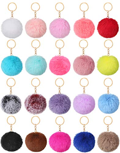 Aboofx 20 Pieces Pom Poms Keychains Fluffy Fur Ball Pompoms Keyring Faux Rabbit Fur Pompoms with Circle Keyring