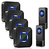 Wireless Doorbell Waterproof Doorbell kit - BISTEE Wireless Door bell with 1000 Feet Long Range, 5 Volume Levels and 58 Melodies Chimes for Home, Office, Shops, Classroom, House, Business