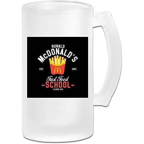Gedruckte 16 Unzen Milchglas Bier Stein Tasse Tasse - Ronald McDonalds Fast Food School - Grafikbecher