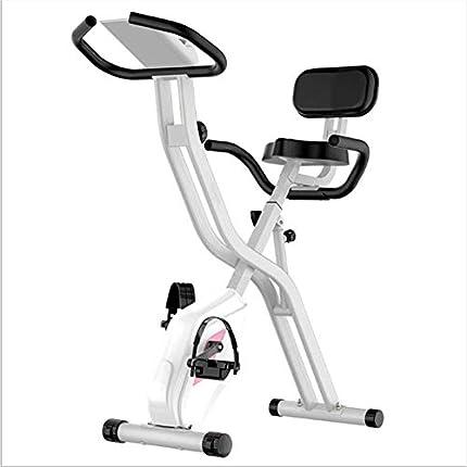 AYHa Bicicleta estática plegable, multifunción Bicicleta estática plegable Cinturón de control magnético silencioso Respaldo Bicicleta estática Adecuado para ejercicio aeróbico en interiores,Blanco