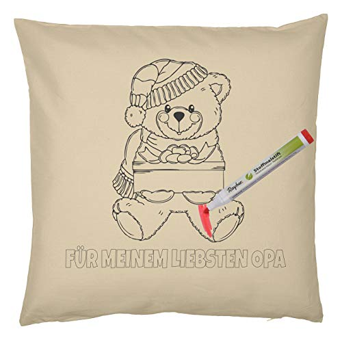 Tini - Shirts Opa, Großvater Weihnachtsmotiv Malvorlage Kissen-Bezug : Teddy Bär Für Meine liebste Opa - Kissenbezug und 5 St. Stifte Set
