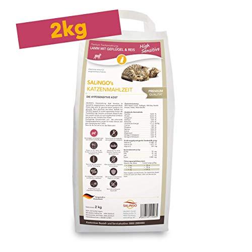 SALiNGO Sensitive Katzenfutter trocken | Lamm mit Geflügel und Reis | zuckerfrei | 2kg