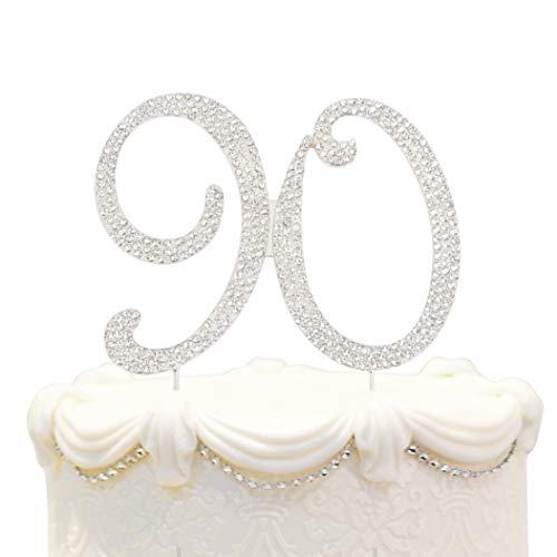 90 Birthday Silver Cake Topper