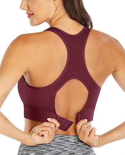 Ewedoos Sports Bras High Support Racerback Workout Bras for Gym(BR01Maroon,L)