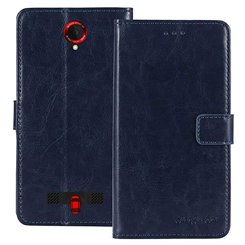 TienJueShi Dark Blau Premium Retro Business Flip Book Stand Brief Leder Tasche Schutz Hulle Handy Hülle Abdeckung Wallet Cover Etui Skin Fur Crosscall Trekker-X3 5 inch