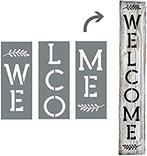 Large Vertical Welcome Sign Stencils For Painting on Wood and More - Create Beautiful Wood Signs With This Large Welcome Stencil – Set of 3 Individual Stencils for Making a DIY Welcome Sign