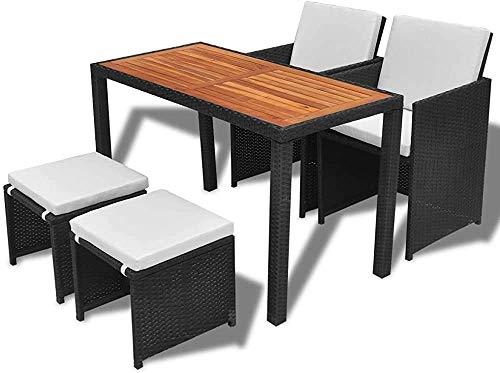 Acacia de madera mesa de comedor y silla conjunto 11 poli ratán muebles de jardín sillón, negro,Black