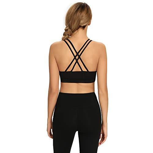 HAPYWER Reggiseno sportivo da donna, con forte tenuta, push-up posteriore, imbottito, per yoga, palestra, colore nero/grigio scuro, taglie S-2XL Nero XL