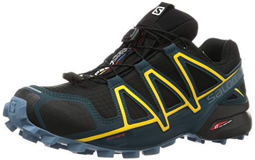 Salomon Speedcross 4 GTX, Scarpe da Trail Running Uomo, Nero Black/Reflecting Pond/Spectra Yellow, 44 2/3 EU