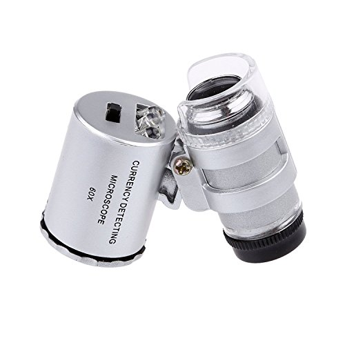 Diamonds Best for Jewelry Identifying Type with LED /& UV Lights Magnifying Eye Loop Stand Coins Home-organizer Tech LED Illuminated Portable 60X-100X Jewelers Loupe Magnifier