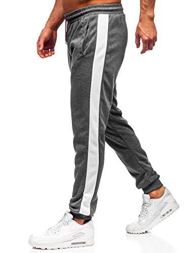 BOLF Herren Jogginghose Sporthose Trainingshose Jogger Sweathose Fitnesshose Jogpants Fußballhose Sweatpants Motiv Print Army Baumwolle Slim Fit J.Style JZ11006 Dunkelgrau-Weiß M [6F6]
