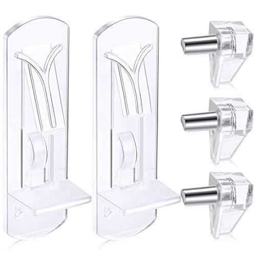 60 pinzas de soporte de estante de plástico con bloqueo de estantes, pinzas de bloqueo para estante de gabinete de 5 mm de diámetro para 3/4..