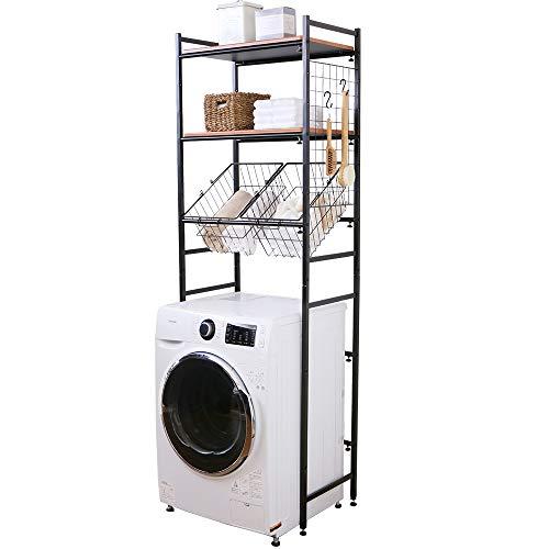 洗濯機のまわりに置くタイプの収納棚。サイドについたメッシュパネルは、小物をかけるのに重宝しそうです。