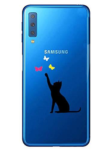 Oihxse Transparente Silicona Case Compatible con Samsung Galaxy A30s Funda Suave TPU Protección Carcasa Moda Dibujos Animados Divertida Diseño Ultra-Delgado Cubierta-Gato