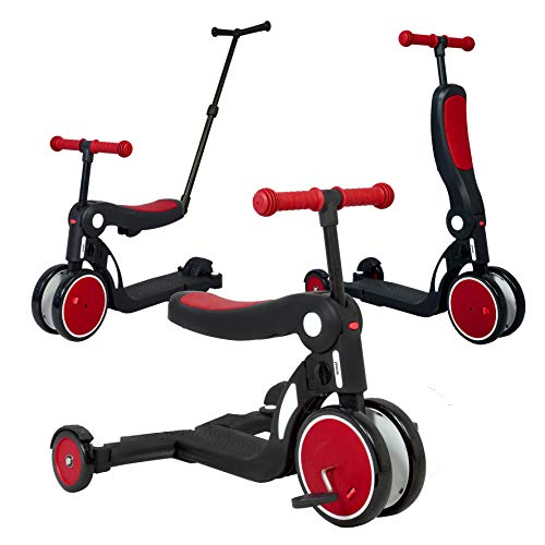 Looping Scootizz Transformable Scooter 5 in 1 (Up to 50 kg) – Balance Bike, Tricycle, Scooter (High Red with Thrust Bar)