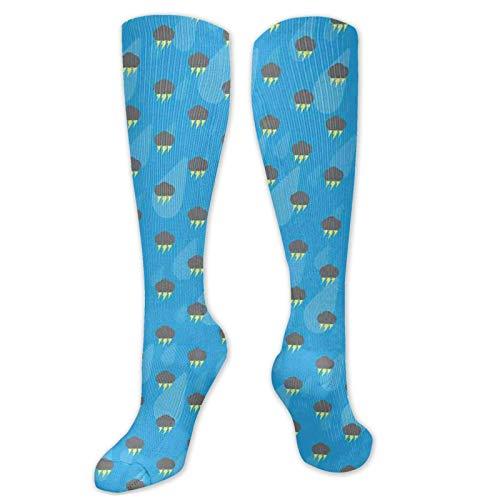 JONINOT Manga de compresin de rodilla de 60 cm, atltica con rayos de nubes oscuras y gotas de lluvia sobre fondo azul, medias deportivas altas