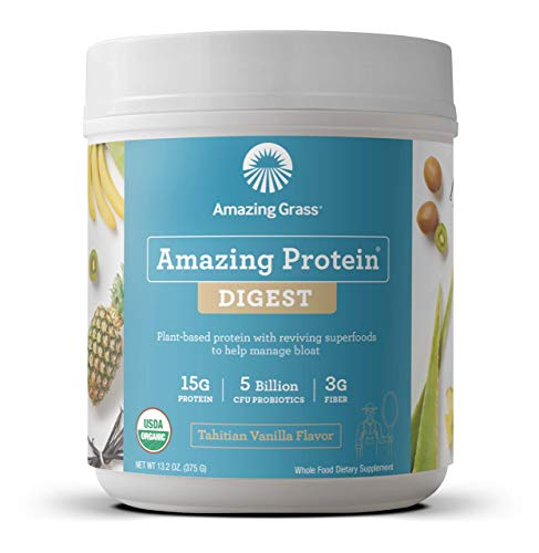 Amazing Grass DIGEST Vegan Protein Powder, Plant Based with Probiotics + Fiber to Manage Bloat, Tahitian Vanilla, 15 Servings