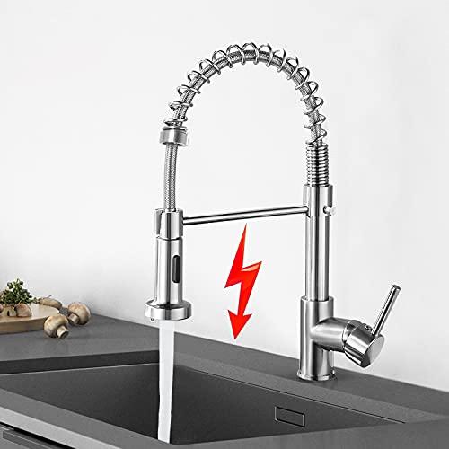 JTWEB - Grifo de baja presión para cocina, grifo monomando con ducha, giratorio 360°, con muelle en espiral