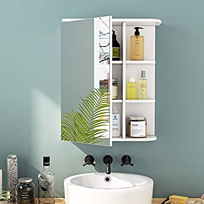 HOME BI Medicine Cabinet with Mirror, Wall Cabinet for Bathroom Storage, 1 Door and 2 Adjustable Shelves Included, White
