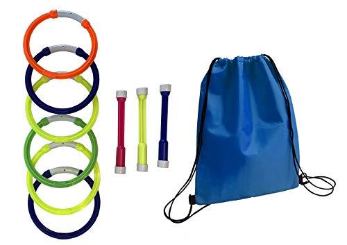 Conjunto Juego acuático 6 Aros, 3 Sticks y una Practica Mochila para Piscina, Playa