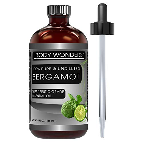 Body Wonders Bergamot Essential Oil - 4 oz. Bottle - 100% Pure, Undiluted Therapeutic Grade Oils - Ideal for Aromatherapy - Great Quality Great Value!