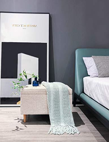 Sitzbank mit Stauraum Aufbewahrungsbox aus Leinen Sitzhocker und Deckel mit Holzfüßen Truhenbank Stoffbezug Gepolsterte Betthocker Modern Design für Wohnzimmer Büro Schlafzimmer Flur Beige - 4