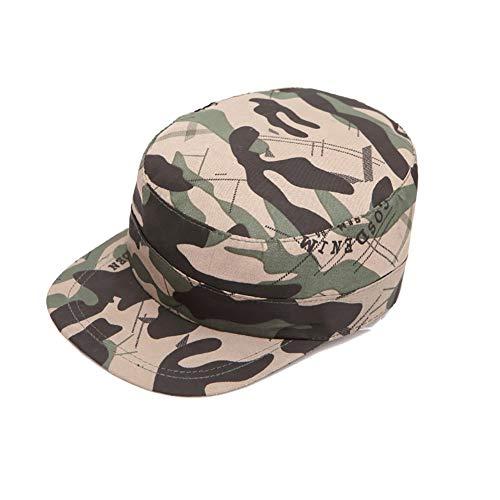 Aesy Gorras de Hombre Plana, Gorras de Béisbol, Ajustable Algodón Sombrero Cabeza Gorras de Militar Plana (A4)