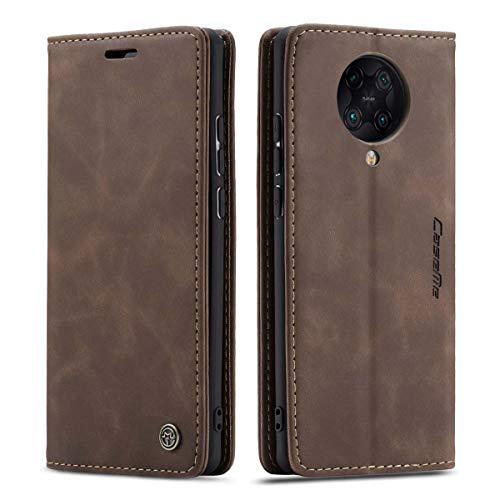 mvced Handyhülle Kompatibel mit Xiaomi Redmi Poco F2 Pro/Redmi K30 Pro,Premium Leder Flip Hülle Schutzhülle mit Standfunktion,Kaffee