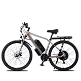 TERLEIA Bicicleta Eléctrica E-Bike De 21 Velocidades Frenos De Doble Disco 29' Bicicleta De Montaña Eléctrica para Adultos para Montar Al Aire Libre Ebike,Gris,48V 1000W 13AH