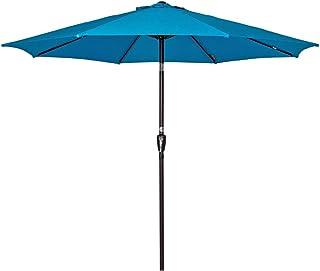 Sundale Outdoor 9 Feet Aluminum Market Umbrella Table Umbrella with Crank and Auto Tilt for Patio, Garden, Deck, Backyard, Pool, 8 Alu. Ribs, 100% Polyester Canopy (Turquoise)