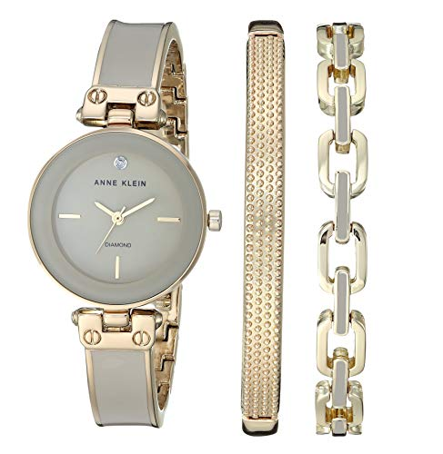 Anne Klein Women's Genuine Diamond Dial Gold-Tone and Tan Bangle Watch with Bracelet Set, AK/3346TNST