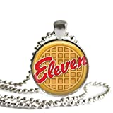Eleven Eggo Waffle 1 inch Silver Plated Pendant Necklace