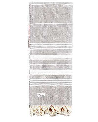 Captain&Mermaid® Premium Strandtuch aus 100% Baumwolle | Badetuch | Handtuch | Yoga | Peshtemal | Sauna Tuch | Hamam Tuch | leicht, dünn & extra saugstark (Moondust)