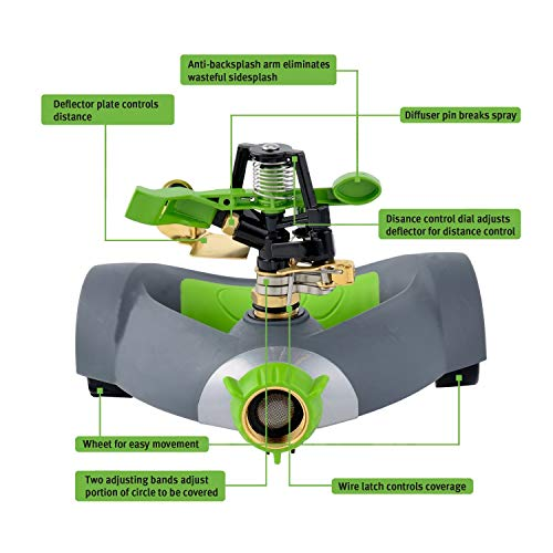 YeStar Adjustable 360° Lawn Garden Impulse Hose Sprinkler, Rotating Portable Sprinkler System with Metal Head & Wheeled Base, Water Up to 5000 Sq. Ft. Coverage