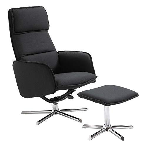 CARO-Möbel Relaxsessel Reno Fernsehsessel TV Sessel mit Hocker, inkl. Liegefunktion, Stoffbezug in schwarz